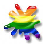 New SPLAT Design With LGBT Gay Pride Flag Motif External Vinyl Car Sticker 110x110mm